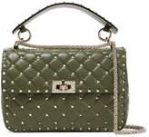 Valentino The Rockstud Spike Quilted Leather Shoulder Bag - Dark green