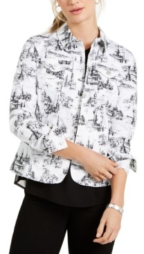 Charter Club Jacquard-Print Denim Jacket, Created for Macy's