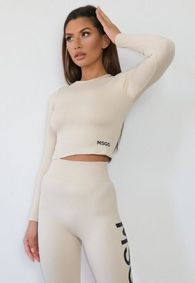 Missguided Nude Msgd Seamless Rib Long Sleeve Gym Top
