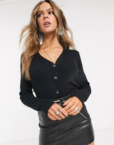Object cropped ribbed cardigan in black