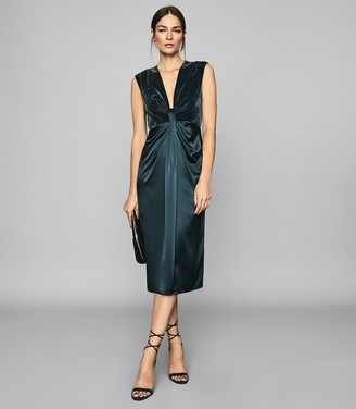 Reiss Livvy - Plunge Neckline Midi Dress in Teal