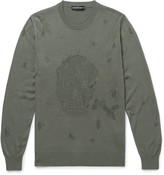 Alexander Mcqueen - Slim-fit Distressed Wool And Cotton-blend Sweater