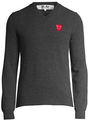 Comme des Garcons Play Double Heart V-Neck Pullover