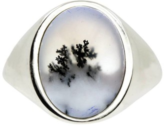 No 13 Snow Agate Vertical Signet Ring Silver