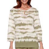 Alfred Dunner Cyprus 3/4-Sleeve Tie Dye Tunic Top