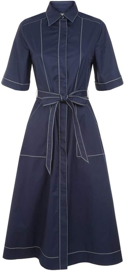 Burberry Topstitch Poplin Shirt Dress