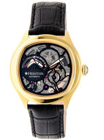Heritor Automatic Odysseus Mens Skeleton-Dial Leather-Gold/Black Watches