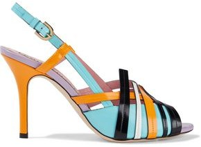 Emilio Pucci Color-block Glossed-leather Slingback Sandals
