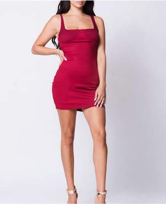 Lux La Square Neck Bustier Ribbed Mini Dress