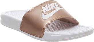 Nike Benassi Sliders White White Metallic Red Bronze Jdi F