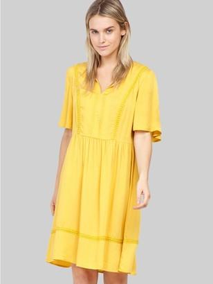 M&Co Izabel embroidered trim smock dress