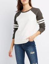 Charlotte Russe Raglan Varsity Stripe Sweatshirt