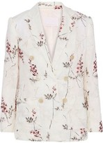 Rebecca Taylor Ivie Double-breasted Embroidered Linen Blazer