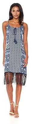 Margaritaville Women's Mixed Batik Mid Length Tassel Dress
