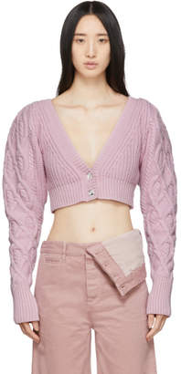 Wandering Pink Cable Knit Cropped Cardigan