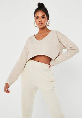 Missguided Sand V Neck Long Sleeve Crop Sweatshirt