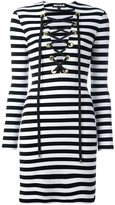 House of Holland striped lace up dress - women - Cotton/Spandex/Elastane - 12