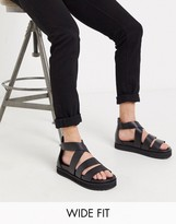 Asos Design DESIGN Wide Fit gladiator sandals in black leather with chunky sole