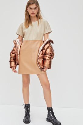 AVEC LES FILLES Andrea Faux Leather Mini Dress By in Beige Size M