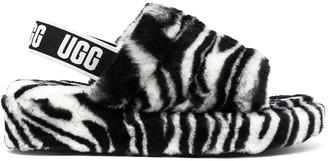 UGG Zebra Print Sheepskin Sandals