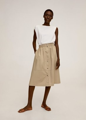 MANGO Elastic waist skirt medium brown - S - Women
