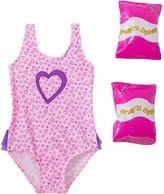 Jump N Splash Toddler Girls' Pure Heart One Piece Swimsuit w/ Free Floaties (2T4T) - 8143041