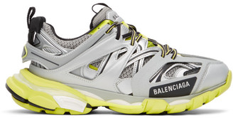Balenciaga Silver and Green Track Sneakers