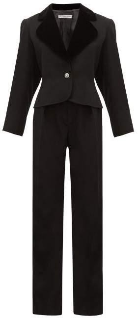 Saint Laurent William Vintage Rive Gauche Le Smoking Wool-crepe Tuxedo Suit - Womens - Black