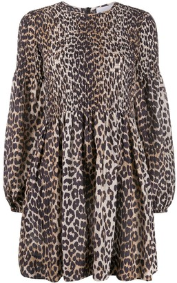 Ganni Leopard Print Long-Sleeve Dress