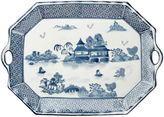 AA Importing 19 Handled Willow Platter, Blue/White
