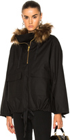 Smythe Anorak With Faux Fur in Black.