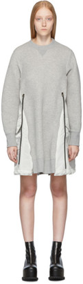 Sacai Grey Spongy Sweatshirt Dress