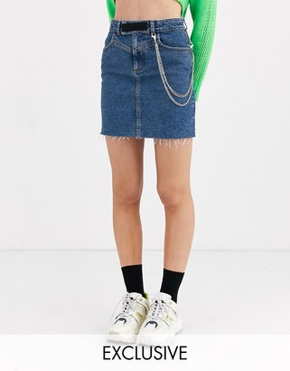 Collusion denim skirt with removable chain in midwash blue