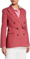 Brunello Cucinelli Cotton-Linen Twill Double Breasted Blazer