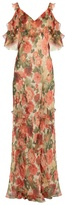 Vilshenko Ladonna carnation-print silk-crepon gown