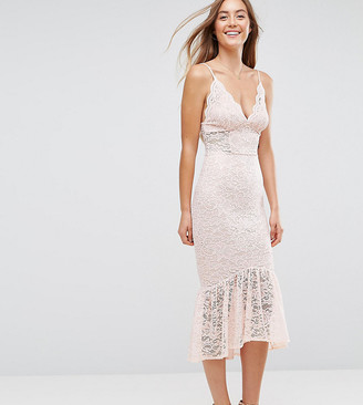 ASOS TALL Lace Plunge Pephem Midi Dress