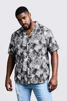 BoohooMAN Big & Tall Snake Print Revere Collar Shirt