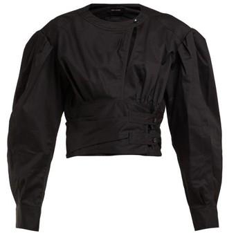 Isabel Marant Puff-sleeve Cotton-poplin Top - Womens - Black