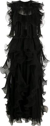 Alberta Ferretti Sheer Ruffle Gown