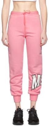 MSGM Pink Palm Tree Logo Lounge Pants