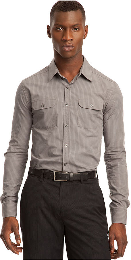Kenneth Cole Reaction Shirt, Double Pocket Pinstriped Dress Shirt