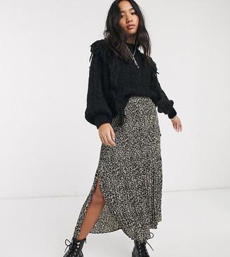 Topshop Petite pleated midi skirt in leopard print-Brown