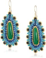 Miguel Ases Blue Gold Stone and Green Jade Tear Drop Earrings