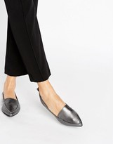 Aldo Bazovica Pewter Leather Point Flat Shoes