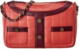 Chanel Pink Calfskin Leather Jacket Motif Chocolate Bar Chain Shoulder Bag