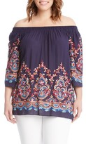 Karen Kane Plus Size Women's Embroidered Off The Shoulder Top