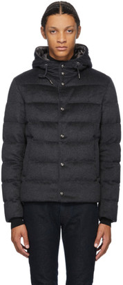 Herno Grey Down Cashmere Bomber Jacket