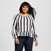 Merona Women's Plus Size Feminine Top Navy Stripe