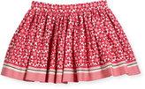 Kate Spade Smocked Floral Tile Skirt, Multicolor, Size 2-6