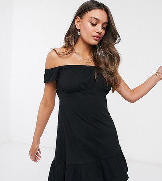 Asos DESIGN Petite off shoulder mini sundress with pep hem in black